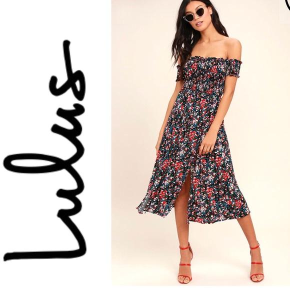 b00a71a9b2 Meadow Black Floral Off Shoulder Dress